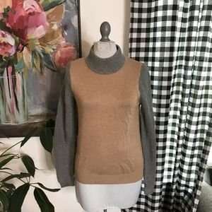 Ann Taylor Loft Color Block Camel Sweater XS 12V